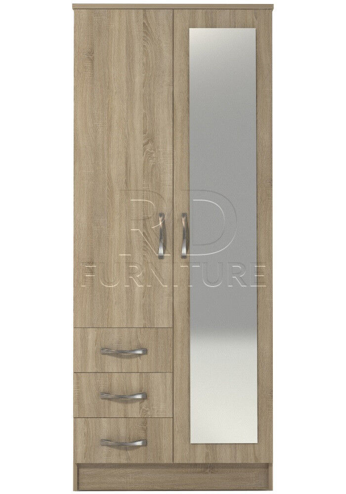 Beatrice 2 door 3 drawer combi full mirrored wardrobe oak