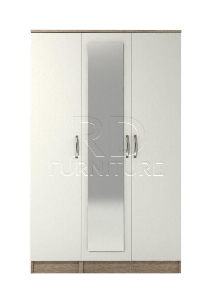 Beatrice 3 door mirrored wardrobe oak and white