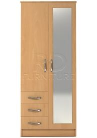 Classic 2 door 3 drawer combi full mirrored wardrobe beech effect