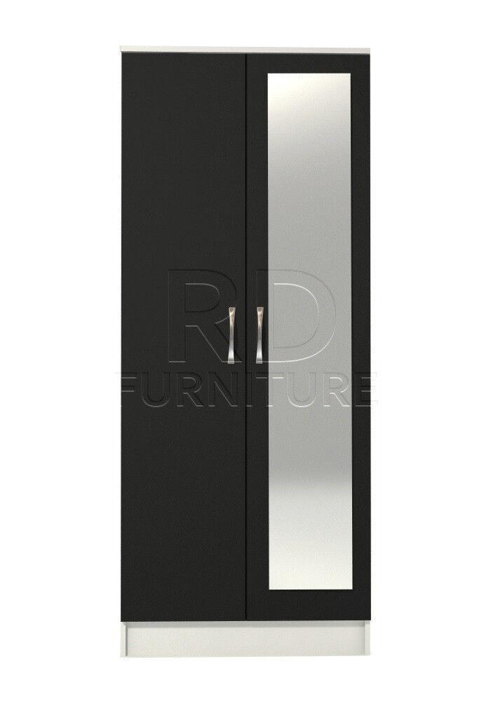 Beatrice 2 door mirrored wardrobe white and black