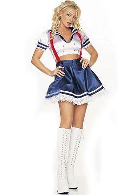 Matrosen-Mädchen Kostüm 2 Teile Rot Weiß & Blau Patriotisch Rock mit