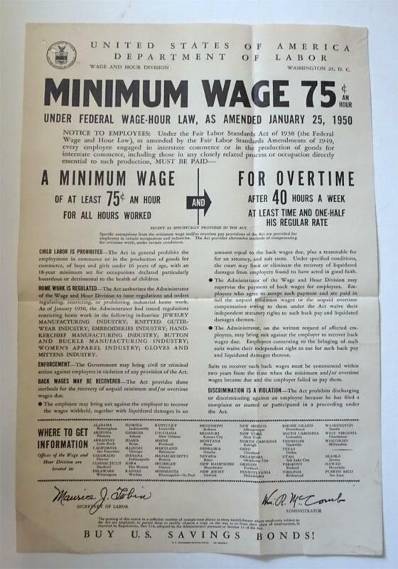 1950 Dept Of Labor Minimum Wage Order Employees Wages 75 cents Hour Poster