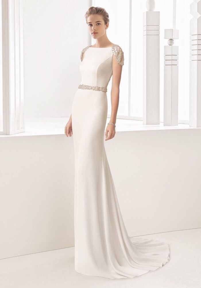 Rosa Clara 2017 Collection Wedding Dress Beautiful Jewelled Detail Cream Size 10