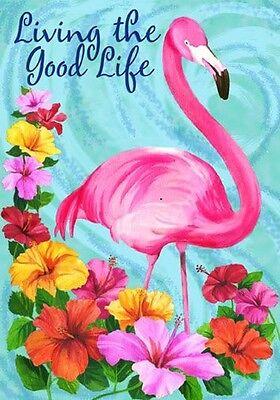 """Living the Good Life Summer Garden Flag Flamingo Tropical 12.5"""" x 18"""""""