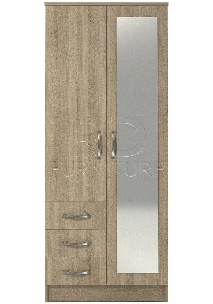 Beatrice 2 door 3 drawer combi full mirrored wardrobe oak