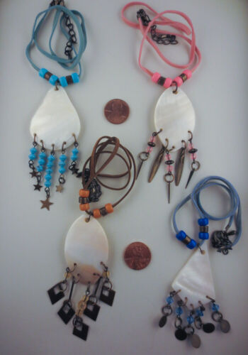 LOT OF 4 Dangling Mother of Pearl Beads Charms Tribal Ethnic Pendant Necklaces
