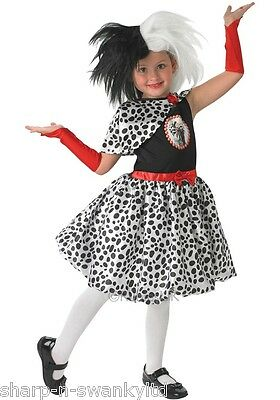 Girls Child's Disney Cruella De Ville Book Day Week Fancy Dress Costume Outfit - Kids Cruella Deville Costume