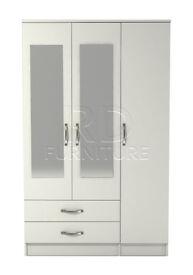 3 door 2 drawer mirrored wardrobe white finish