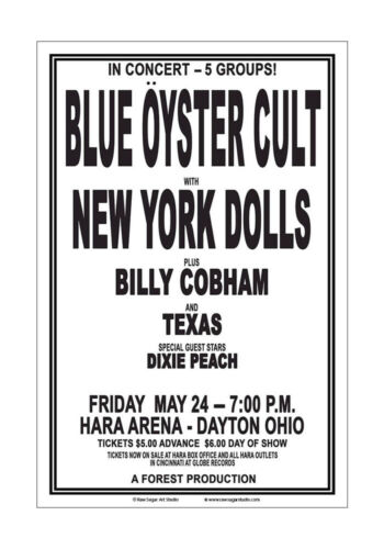 Blue Oyster Cult / New York Dolls 1974 Dayton Concert Poster