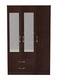 Beatrice 3 door 2 drawer mirrored wardrobe walnut effect