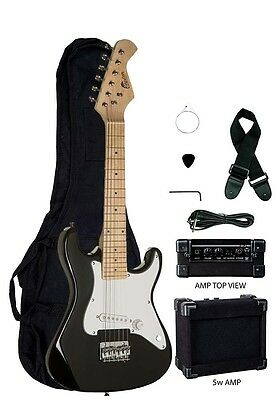 "New Raptor Black 31"" Mini ST  Kid's Electric Guitar Package w/ 5 Watt Amp"
