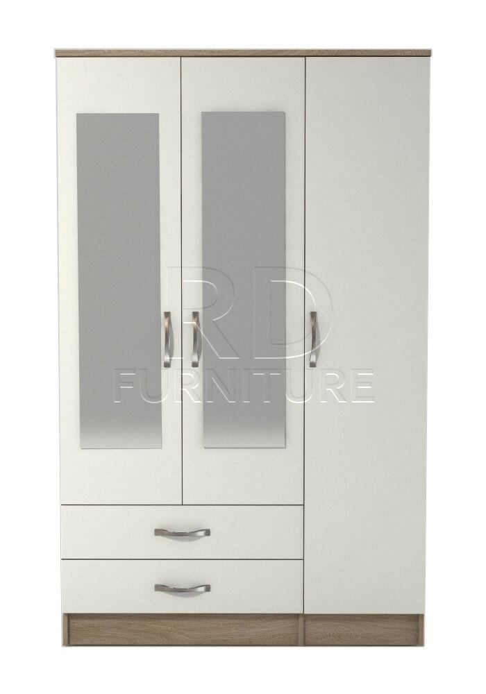 Beatrice 3 door 2 drawer mirrored wardrobe oak and white