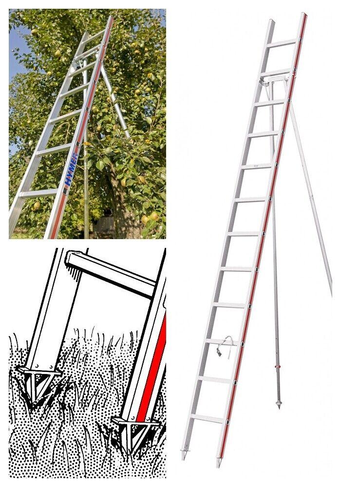 Hymer Alu Gartenleiter Baumleiter Obstbaumleiter Sprossen Anlegeleiter 3,5m 4,2m