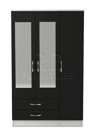 Classic 3 door 2 drawer mirrored wardrobe white and black