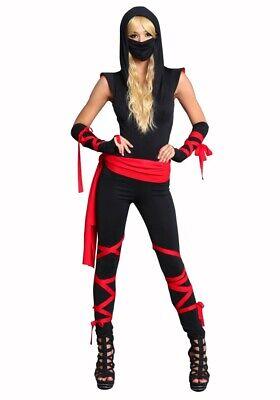 Sexy Kostüm BLACK NINJA Gr. S/M Kämpferin - 7-teilig