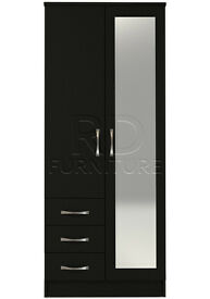 Hampton 2 door 3 drawer combi full mirrored wardrobe black finish