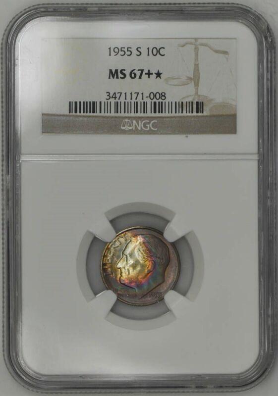 1955-S Roosevelt Dime 10c MS67+* Color NGC 942543-18