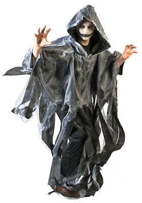 Geister Ghoul Umhang mit Kapuze Grau Halloween Kostüm Gespenst Zombie - Zombie Kostüm Halloween Geist