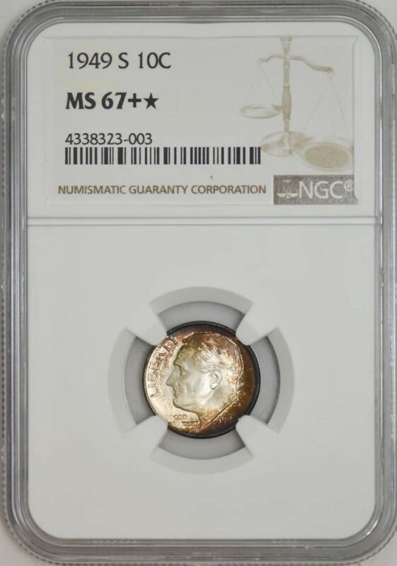 1949-S Roosevelt Dime 10c MS67+* NGC 942949-6