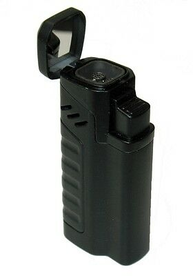 BLACK Metal Body Quad Blue Jet Butane Torch Cigar Lighter w Punch Cutter