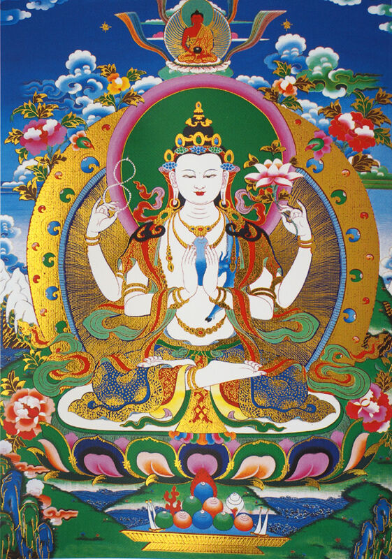"14"" BLESSED BROCADED WOOD SCROLL TIBET THANGKA: Four-arms Avalokitesvara"