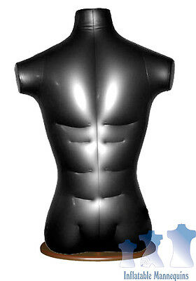 Inflatable Male Torso Black And Wood Table Top Stand Brown