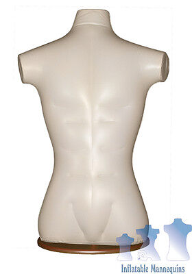 Inflatable Male Torso Ivory And Wood Table Top Stand Brown