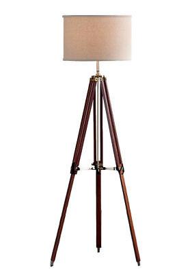 Surveyor Tripod Floor Lamp For Living Room Cherry Finish Wood Home Decor Lamp