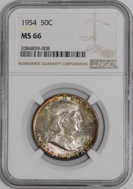 1954 Franklin Half 50c #938967-36 MS66 NGC