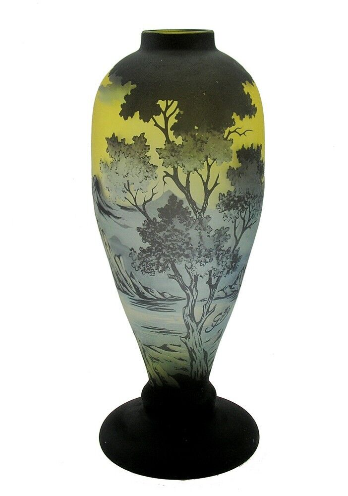 Large Cameo Glass Vase With Mountains Signed Galle Tip 27000