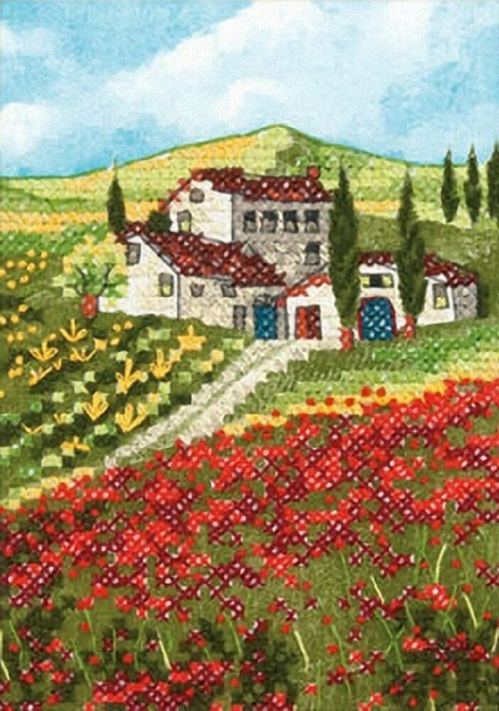 needlecrafts stamped cross stitch poppy fields