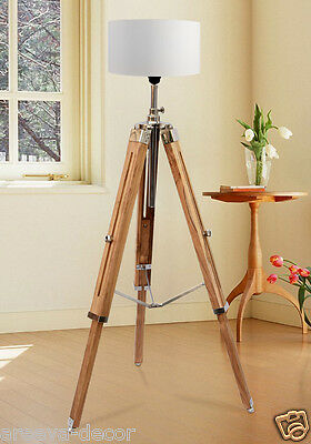 Marine Nautical Teak Wood Vintage Floor Lamp Wooden Tripod Stand Use With Shade.