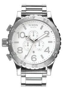 Authentic Nixon A083488 Chrono High Polish / White Men's 51-30 Watch. a083-488