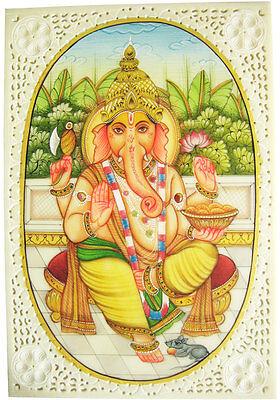 Indisches Gemälde GANESHA Miniaturmalerei Moghul Art Lupenmalerei 10x15 cm India