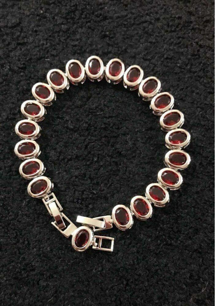 Women Bracelet 925 Sterling Silver Oval Red Garnet Bracelet Fashion Jewelry