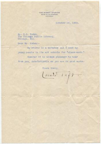 1928 American Sculptor Lorado Taft Typed Letter Signed