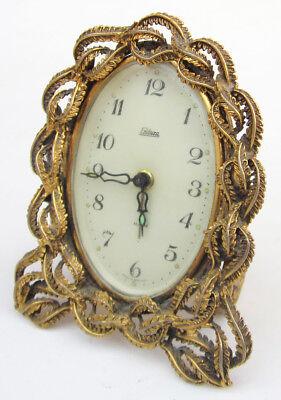 ENDURA Gold Ormolu Wind Up Vanity Table Alarm Clock Hollywood Regency Germany