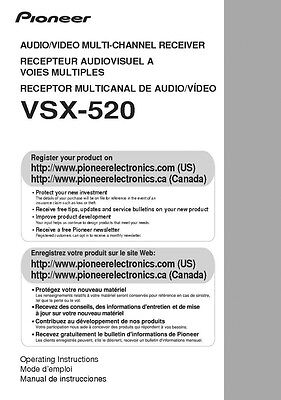 Pioneer VSX-520 Receiver Owners Manual
