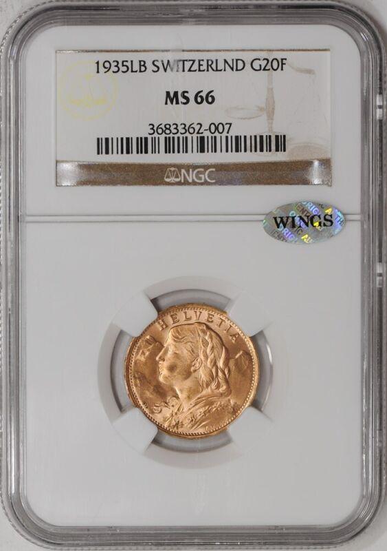 1935LB Switzerland Gold 20 Francs MS66 NGC ~ WINGS .1867 AGW  924162-14