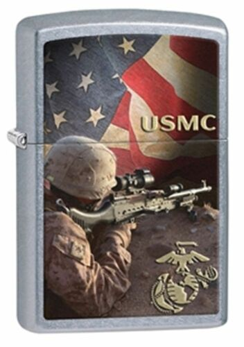 Zippo Windproof USMC Lighter With Sniper, Sharpshooter, 28899, New In Box
