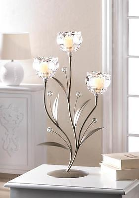 CRYSTAL FLOWER TRIPLE CANDLE HOLDER TABLE CENTERPIECE DECOR~10017423