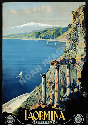 Taormina Italia vintage italian train travel poster 16x24