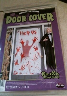 Halloween Help Us Bloody Hand Prints 30 x 60 Door Cover FREE SHIPPING