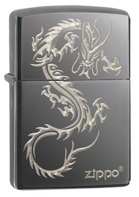 Zippo 49030, Chinese Dragon Design, Black Ice Chrome Finish Lighter