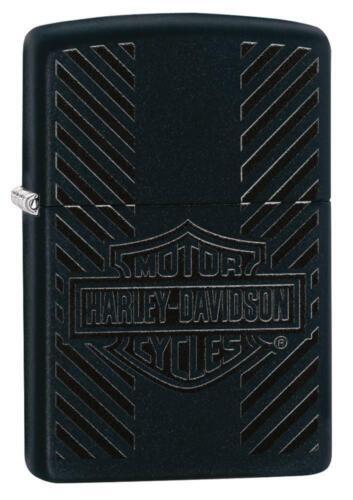 Zippo Harley Davidson Lighter With Black Harley Logo, 49174, New In Box