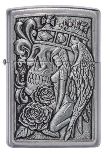 Zippo Windproof Skull, Roses, Angel Gothic Emblem Lighter, 49442, New In Box