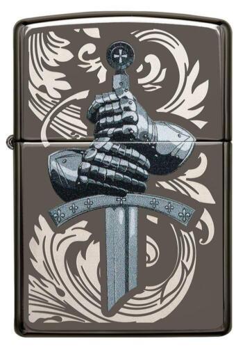 ZIPPO Medieval Knight Gloves, Black Ice Color Image/Laser Engrave 49127 NEW L@@K