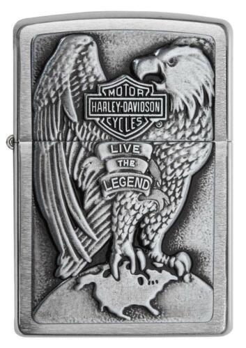 Zippo Harley Davidson Chrome Lighter With Emblem, Item 200HD.H231, New In Box