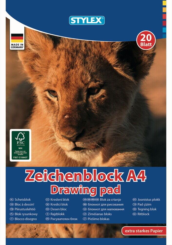 STYLEX Zeichenblock Skizzenblock Zeichnenpapier DIN A4, 20 Blatt 120g/m²
