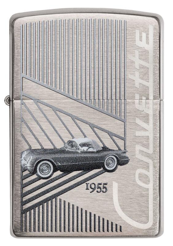 Zippo Chevrolet Corvette 1955 C1 brushed Chrome Custom Lighter Very Rare NEW